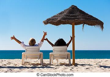 恋人, 浜の 休暇, 日よけ