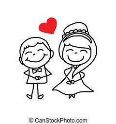 恋人, 特徴, 図画, 結婚式, 手, 漫画
