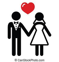 恋人, 結婚されている, 結婚式, アイコン