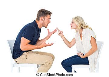 恋人, 論争, 椅子, 若い, モデル