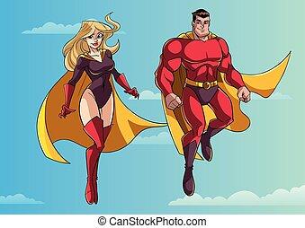 恋人, 飛行, 空, superhero