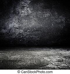 恐い, 古い, 部屋, 手ざわり, コンクリート, グランジ