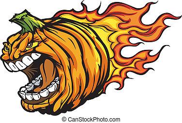 恐い, pumkin, 表現, イメージ, 燃えている, ハロウィーン, 頭, o, ベクトル, ジャッキ, 叫ぶこと, 漫画, ランタン