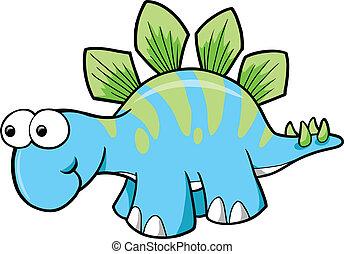 恐竜, stegosaurus, ベクトル, 愚か