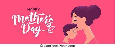 息子, 幸せ, 母, 旗, 接吻, 母, 日