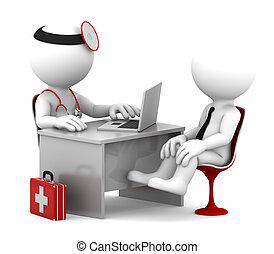 患者, オフィス, 医者, 医学, 話し, consultation.