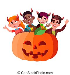 悪魔, グループ, ハロウィーン, 隔離された, イラスト, 大きい, かいま見ること, vector., 角, から, 子供, カボチャ