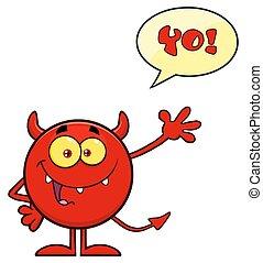 悪魔, テキスト, 特徴, 挨拶, 振ること, スピーチ泡, 漫画, 赤, emoji