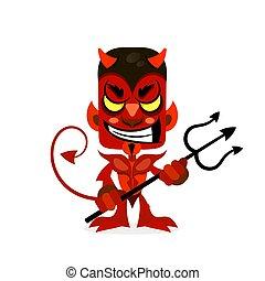 悪魔, 微笑, hands., trident, 彼の, 赤