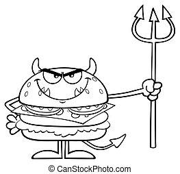 悪魔, 怒る, trident, 特徴, バーガー, 黒, 保有物, 白, 漫画