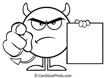 悪魔, 指すこと, 怒る, 特徴, 黒, 指, 保有物, ブランク, 歌いなさい, 白, 漫画, emoji