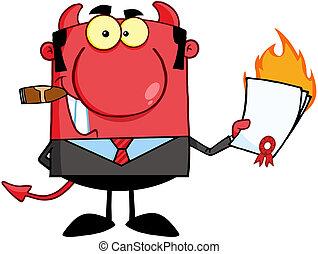悪魔, 燃えている, 契約, 保有物
