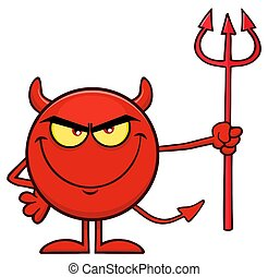 悪魔, 特徴, 干し草用フォーク, 保有物, 漫画, 赤, emoji