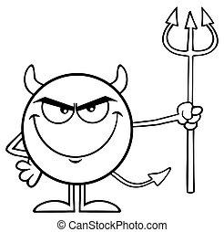 悪魔, 特徴, 干し草用フォーク, 黒, 保有物, 白, 漫画, emoji