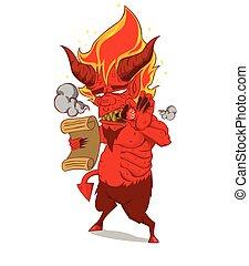 悪魔, 特徴, 赤, vector., モンスター