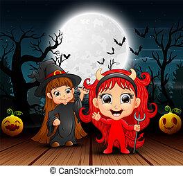 悪魔, 魔女, 漫画, 赤, 夜
