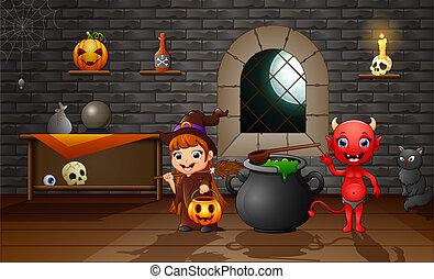 悪魔, 魔女, 漫画, 赤, 幸せ