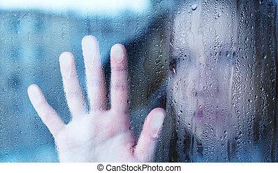 悲しい女性, 窓, 雨, 憂うつ, 若い