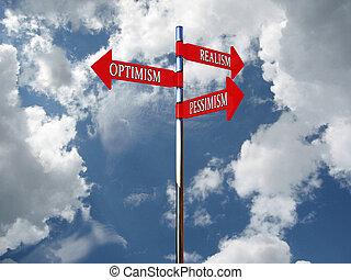 悲観主義, 空, に対して, 楽天主義, ポインター, 写実主義