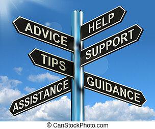 情報, 助け, 道標, アドバイス, サポート, 先端, 指導, ショー