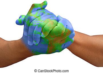 惑星地球, ペイントされた, 人, 手