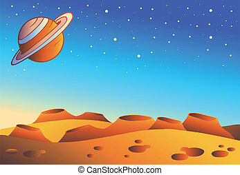 惑星, 漫画, 風景, 赤