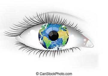 惑星, 目, 地球, desaturated