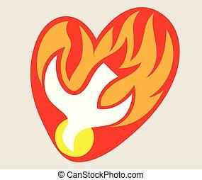 愛, ロゴ, 神の霊, 火