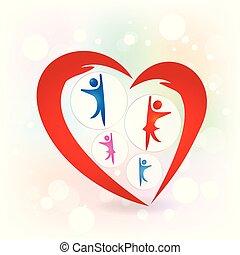 愛, 家族, 保護, ベクトル, 手, ロゴ