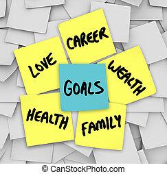 愛, 富, キャリア, メモ, 付せん, 健康, ゴール