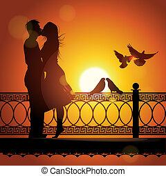 愛, 恋人, シルエット, 日没, 接吻