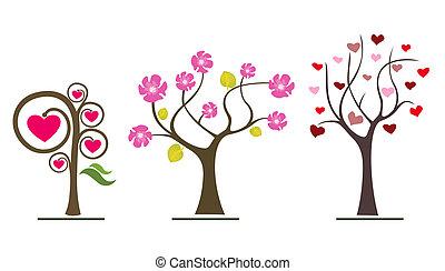 愛, 木, バレンタイン, シンボル, icons., 結婚式, ∥あるいは∥, 日