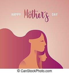 愛, 母, 挨拶, 子供, 日, カード, 幸せ