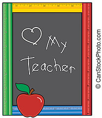 愛, 黒板, 教師, 私, 定規