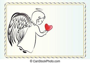 愛, invitational, 天使, カード, 心, 祈ること