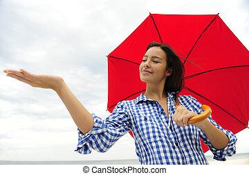 感動的である, 女, 傘, 赤, 雨
