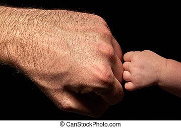 感動的である, 強い, 赤ん坊, お父さん
