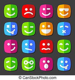 感情, 平ら, アイコン, smiley, ベクトル, 顔