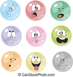 感情, 001, セット, 微笑, 多色刷り
