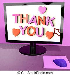 感謝しなさい, スクリーン, メッセージ, 感謝, コンピュータ, オンラインで, あなた, 提示
