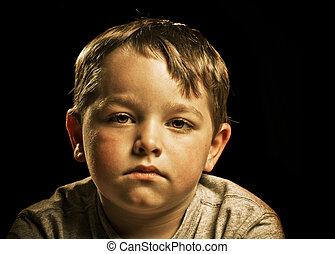 憂うつにされた, 怒る, 悲しい, 隔離された, 黒人の子供, 肖像画, ∥あるいは∥, 深刻
