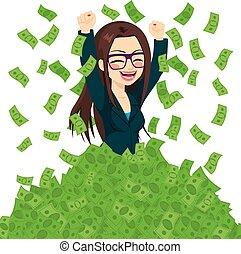 成功した, 女性実業家, 極度, 豊富