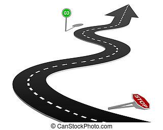 成功, カーブ, 一時停止標識, 行きなさい, 進歩, ハイウェー