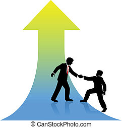 成功, ビジネス, の上, 助力, 人, パートナー