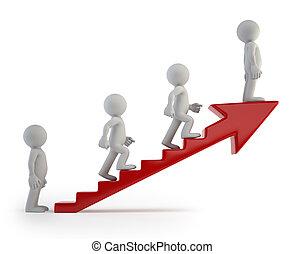 成功, 人々, はしご, -, 小さい, 3d