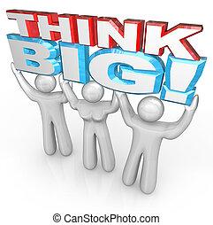 成功, 人々, 大きい, 一緒に, リフト, 言葉, チーム, 考えなさい