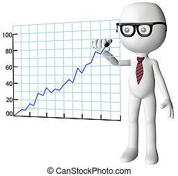 成功, 会社, チャート, マネージャー, 成長, 図画