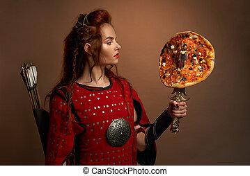 戦士, 女性, 中世, pizza.