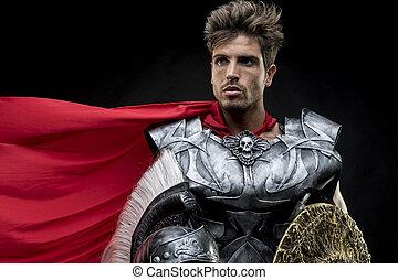 戦士, 鉄, ヘルメット, 侵略, よろいかぶと, ∥あるいは∥, ローマ人, 剣, 軍, horsehair, centurion