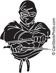 戦闘機, illustration., -, ベクトル, vinyl-ready., ninja